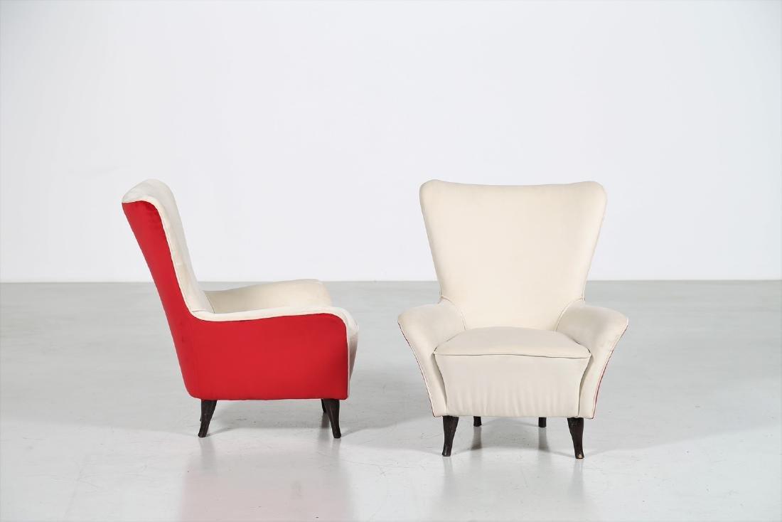 ISA BERGAMO  Pair of wood and fabric armchairs, 1950s - 2