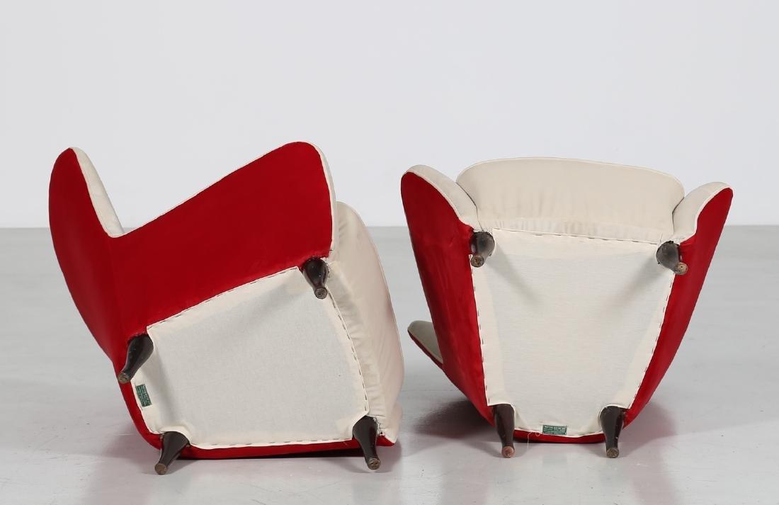 ISA BERGAMO  Pair of wood and fabric armchairs, 1950s - 3
