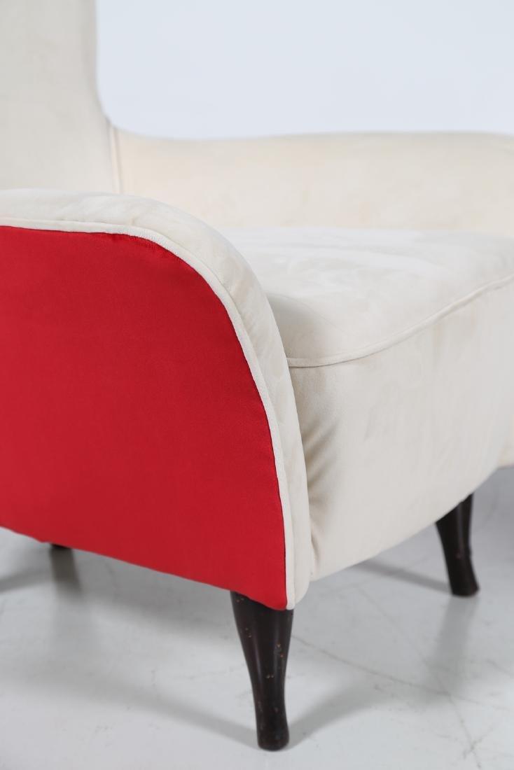 ISA BERGAMO  Pair of wood and fabric armchairs, 1950s - 6