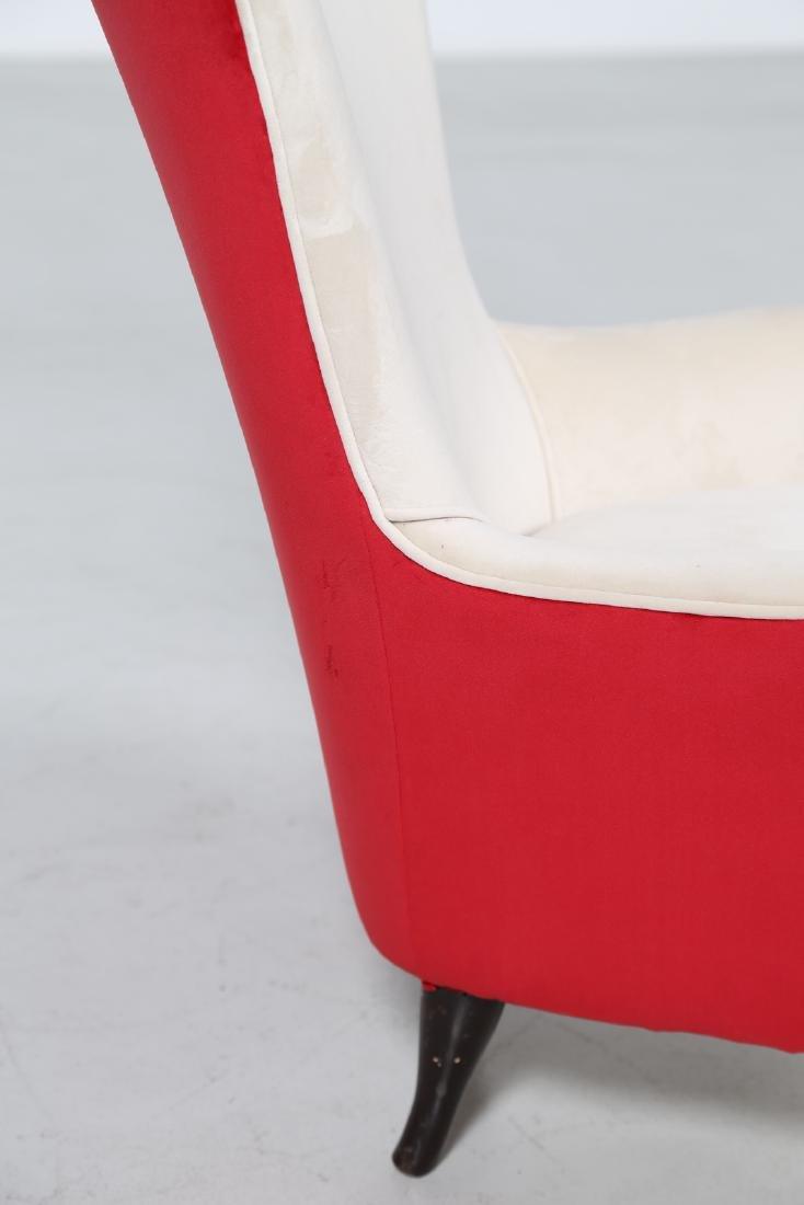 ISA BERGAMO  Pair of wood and fabric armchairs, 1950s - 7
