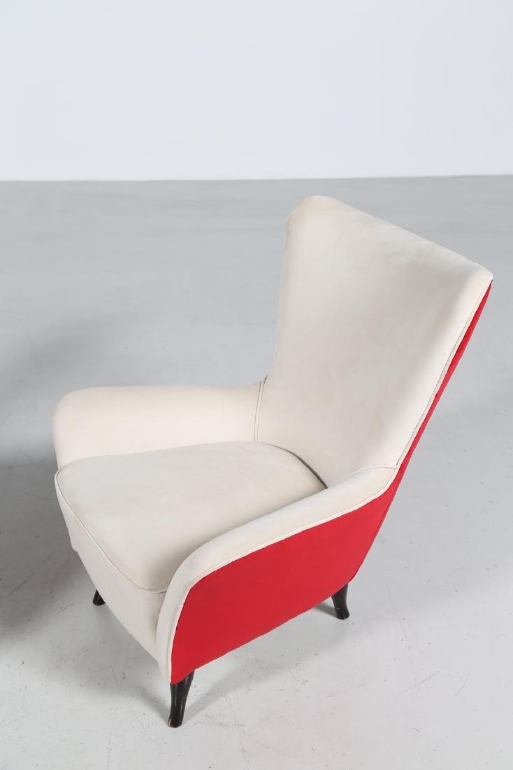 ISA BERGAMO  Pair of wood and fabric armchairs, 1950s - 8