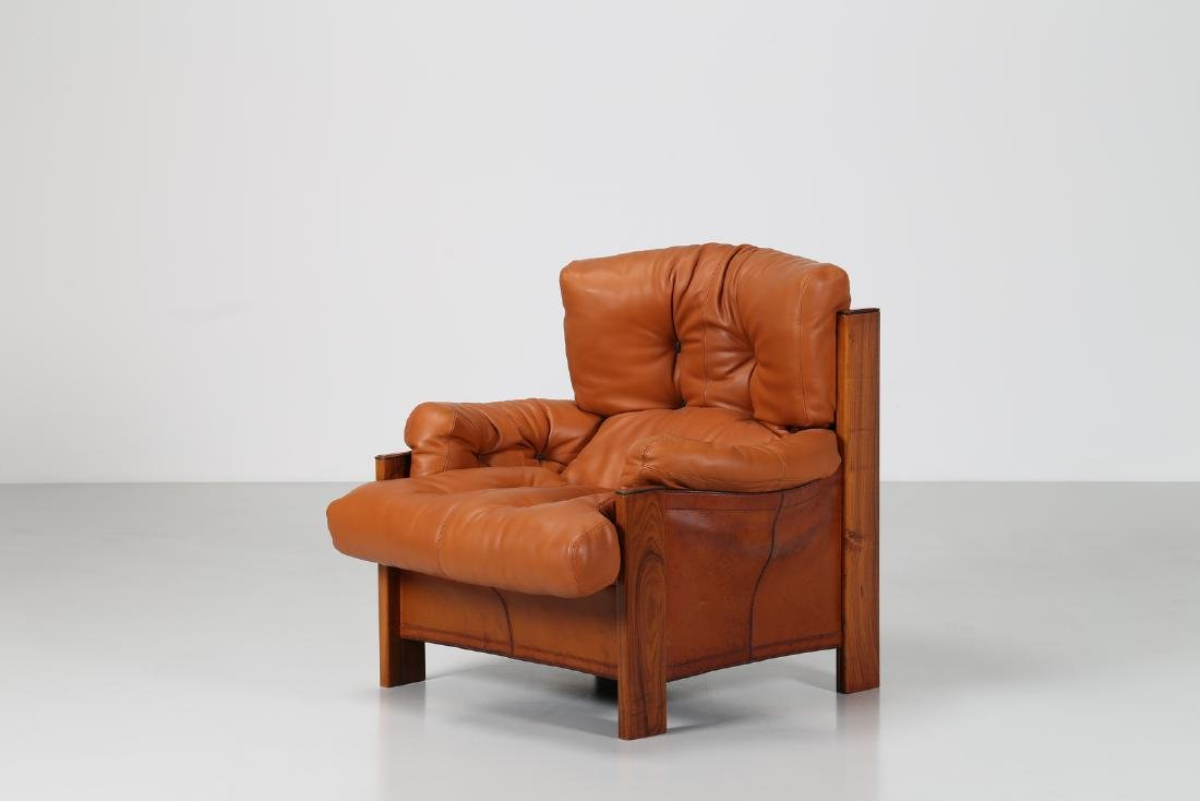 AFRA & TOBIA SCARPA Armchair in walnut, leather and