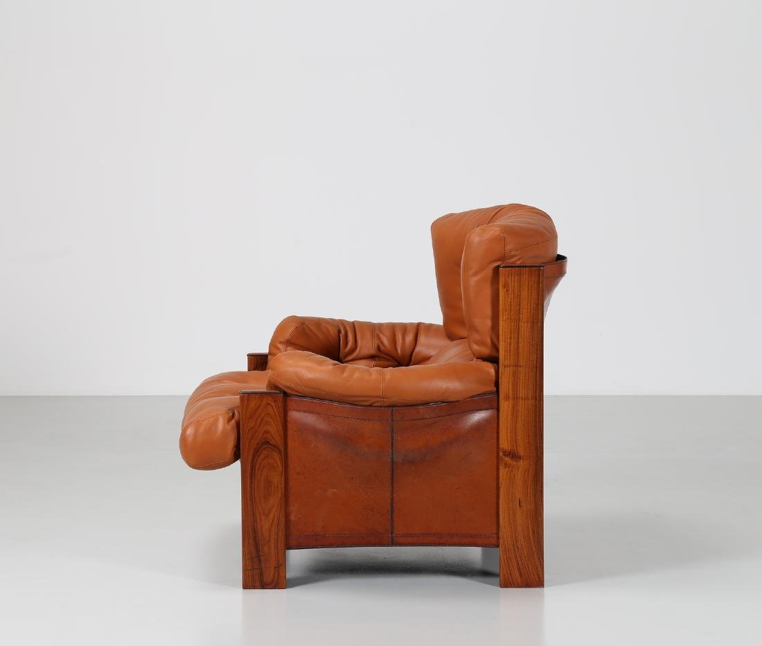 AFRA & TOBIA SCARPA Armchair in walnut, leather and - 3