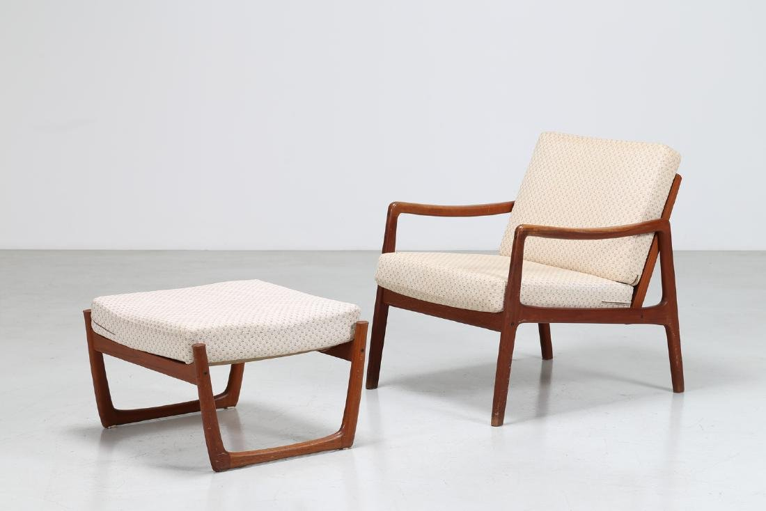 OLE  WANSCHER Armchair and footstool in teak and