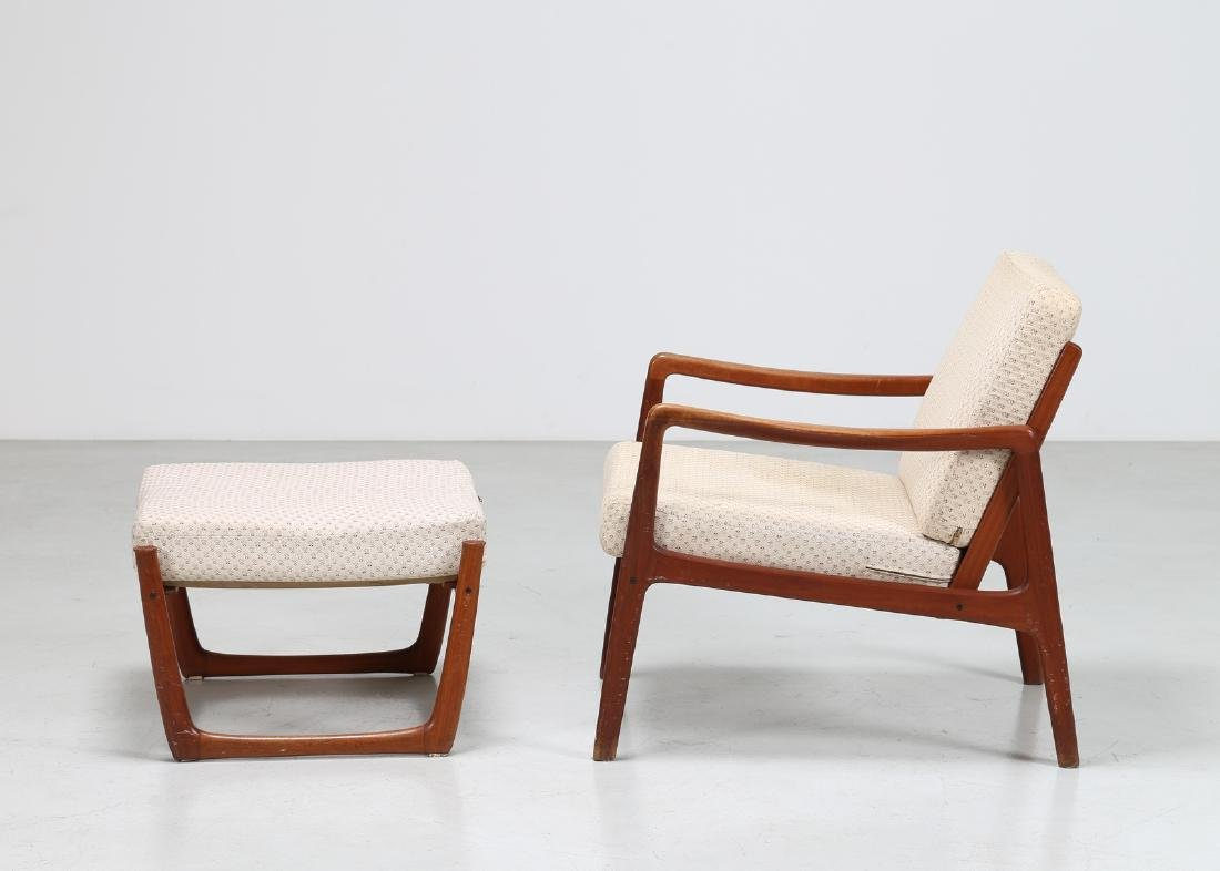 OLE  WANSCHER Armchair and footstool in teak and - 3