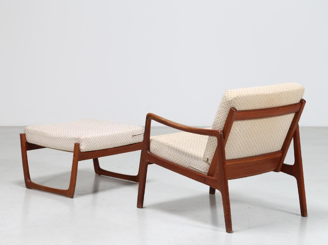 OLE  WANSCHER Armchair and footstool in teak and - 4