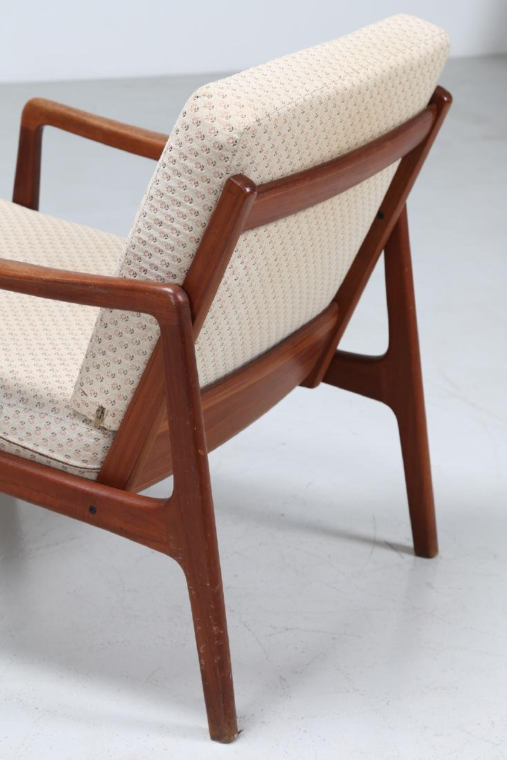 OLE  WANSCHER Armchair and footstool in teak and - 6