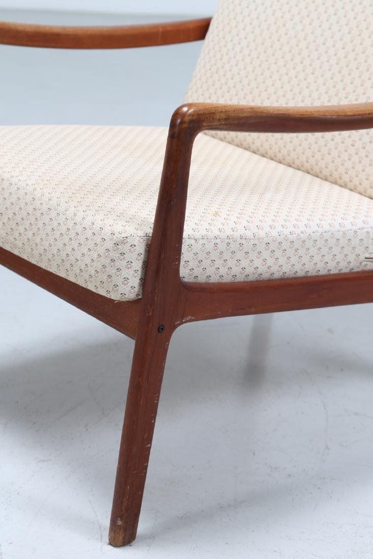 OLE  WANSCHER Armchair and footstool in teak and - 7