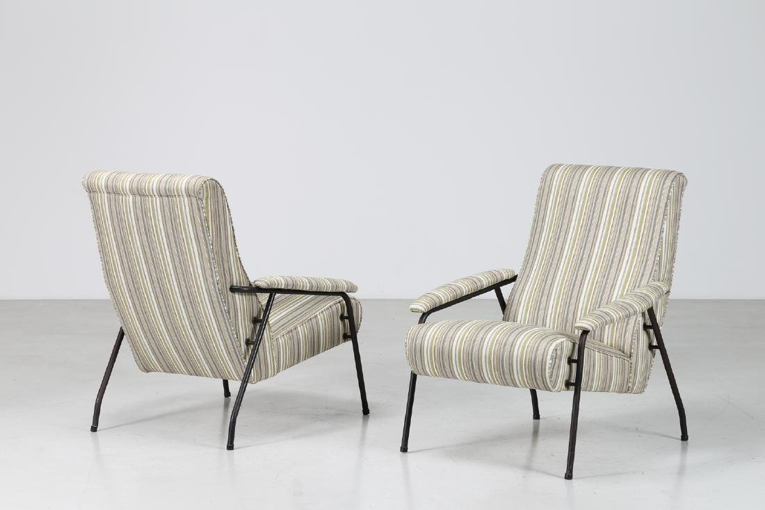 MANIFATTURA ITALIANA  Pair of armchairs in fabric and