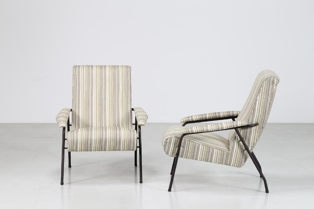 MANIFATTURA ITALIANA  Pair of armchairs in fabric and - 2