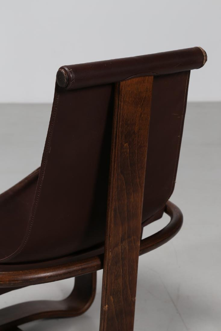 INGMAR RELLING Pair of wood and leather armchairs, - 4