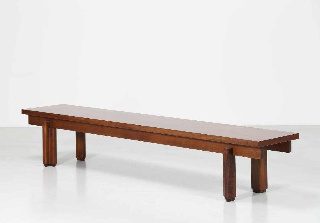 GIOVANNI MICHELUCCI Walnut bench for Fantacci, 70's.
