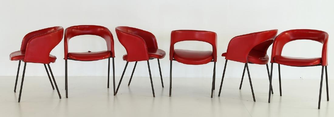 GASTONE RINALDI Six solid metal and skai chairs, model