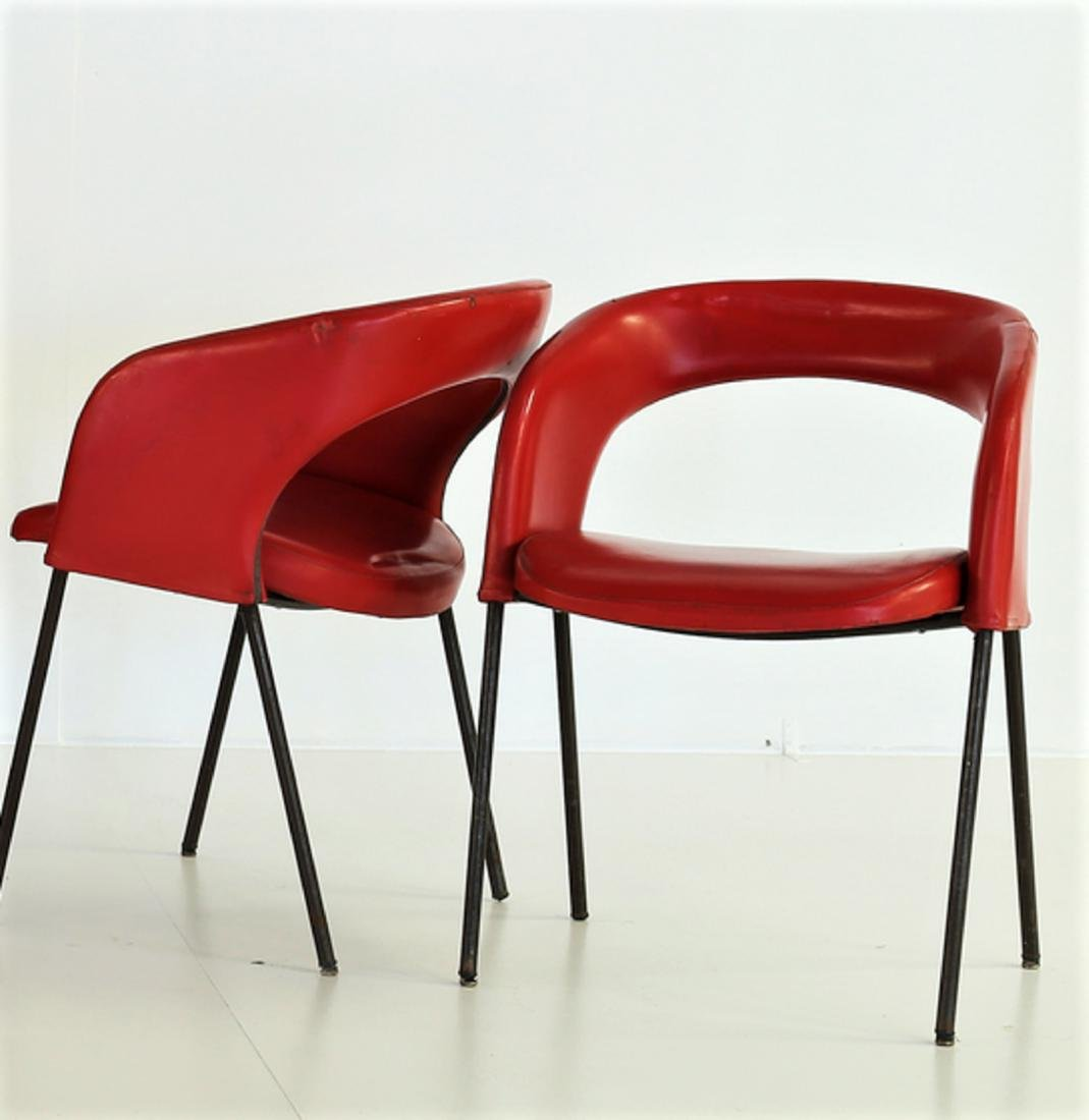 GASTONE RINALDI Six solid metal and skai chairs, model - 3