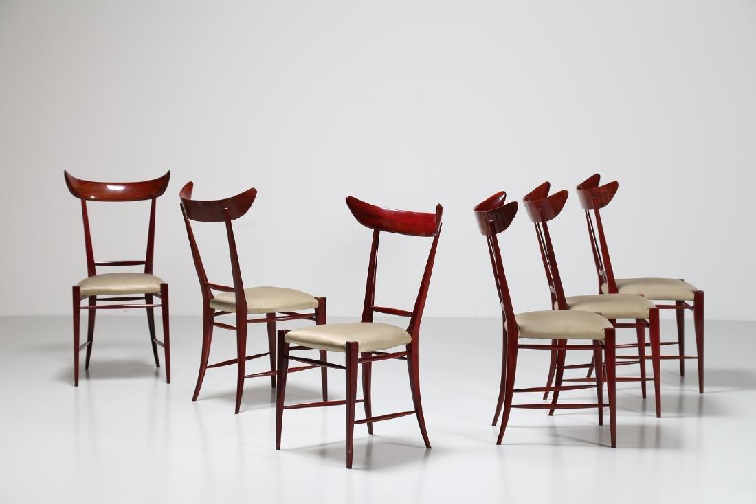 SILVIO CAVATORTA Six mahogany chairs with woven