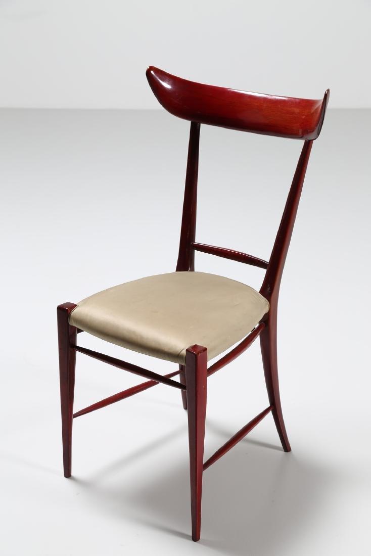 SILVIO CAVATORTA Six mahogany chairs with woven - 2