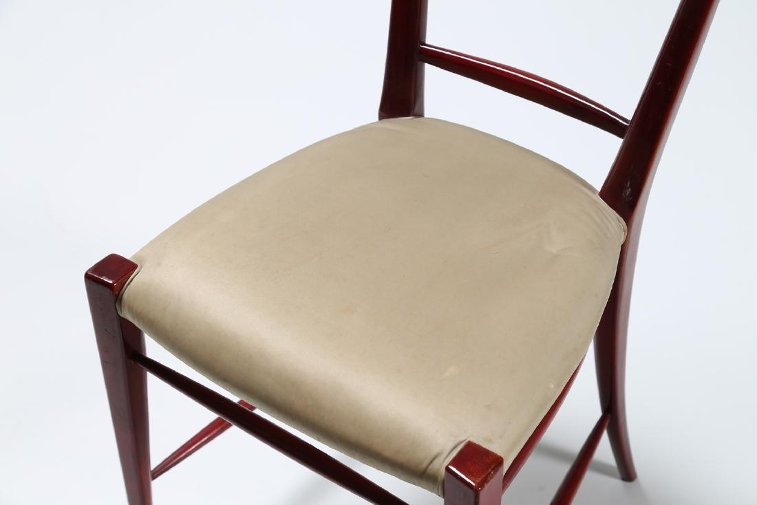 SILVIO CAVATORTA Six mahogany chairs with woven - 3
