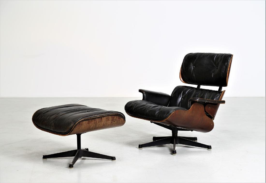 CHARLES & RAY EAMES  Armchair with footstool in bent