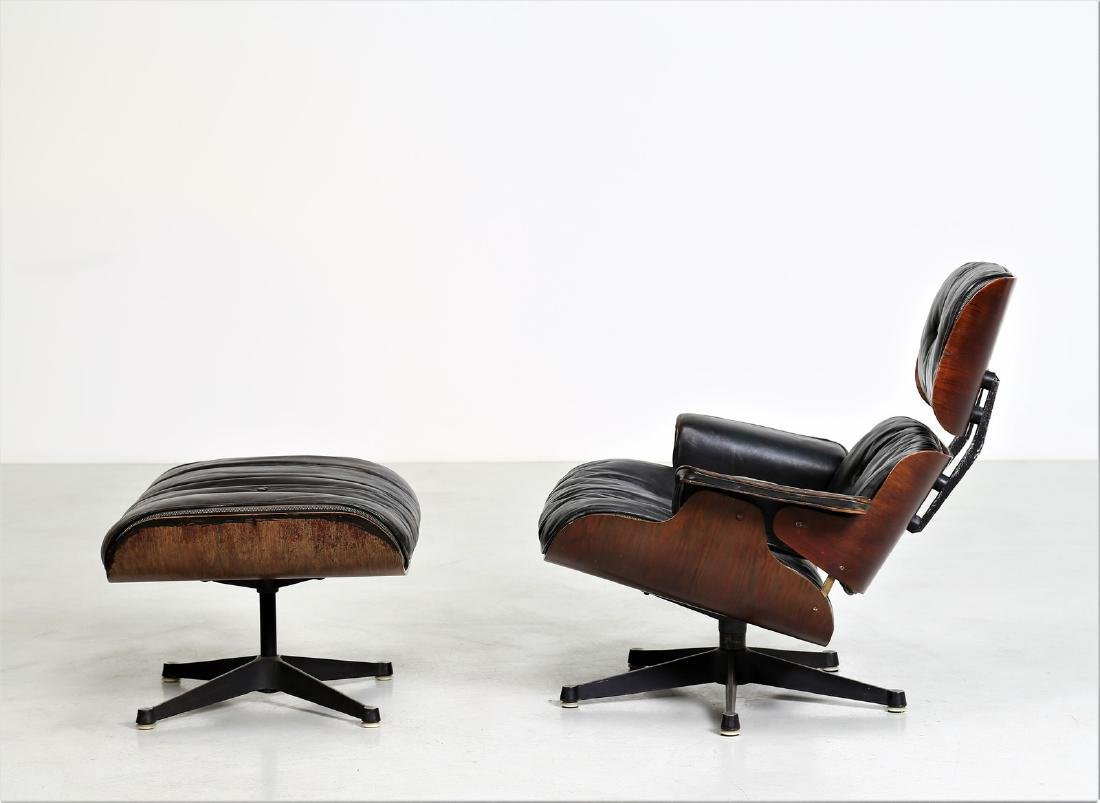 CHARLES & RAY EAMES  Armchair with footstool in bent - 2