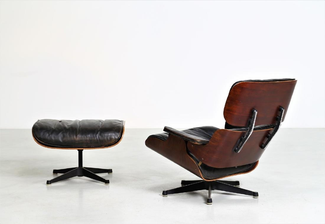 CHARLES & RAY EAMES  Armchair with footstool in bent - 3