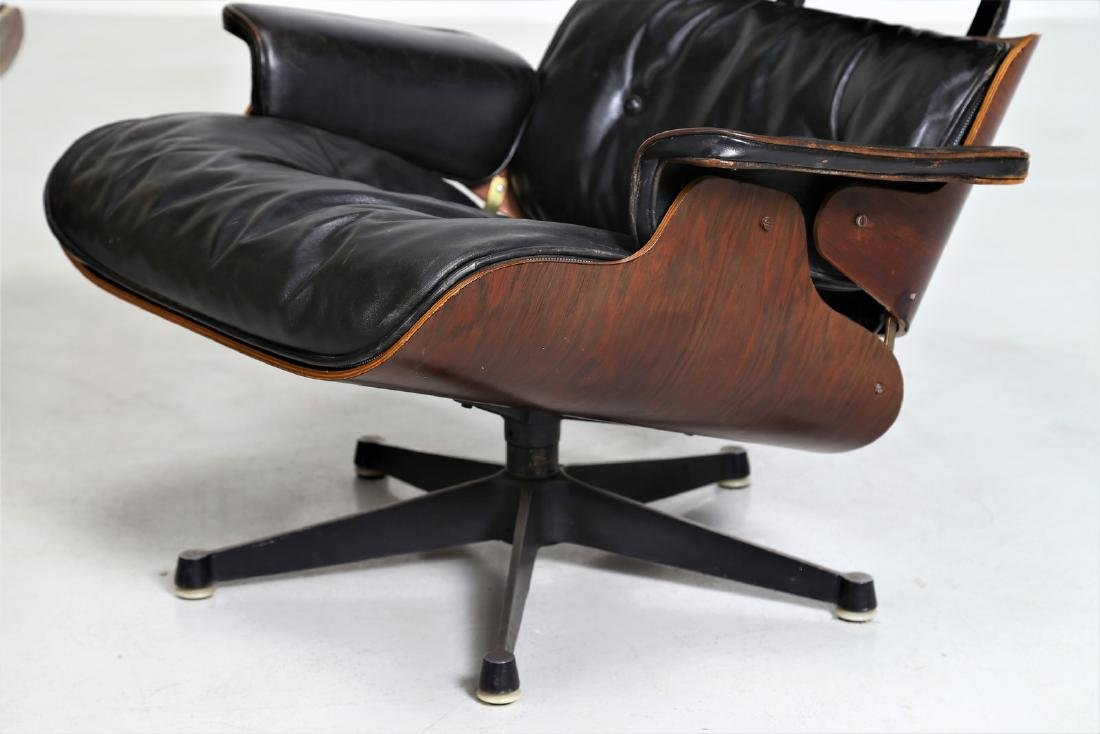 CHARLES & RAY EAMES  Armchair with footstool in bent - 6