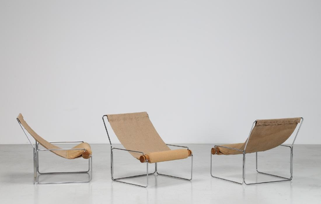 BRIAN  KANE Three easy chairs in metal, wood and