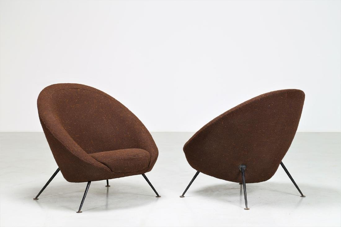 ICO PARISI Distinctive pair of metal and fabric easy