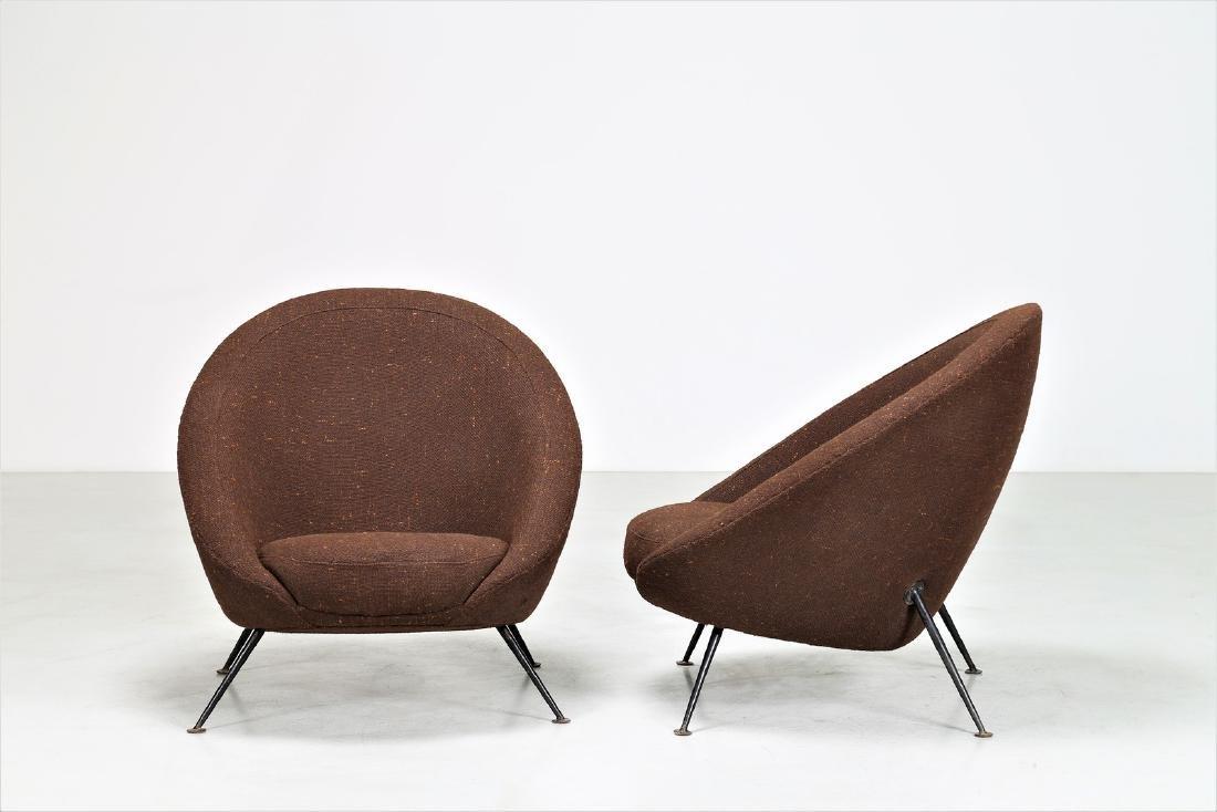 ICO PARISI Distinctive pair of metal and fabric easy - 2