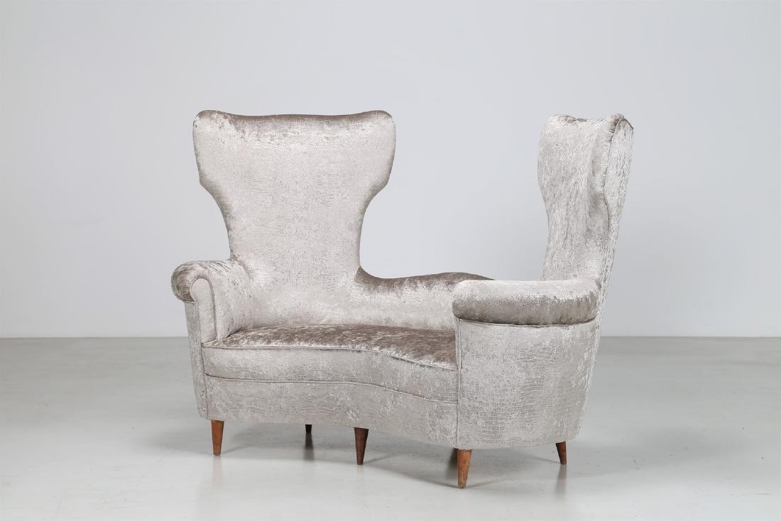MAURIZIO TEMPESTINI Wood and fabric sofa, 1940s.
