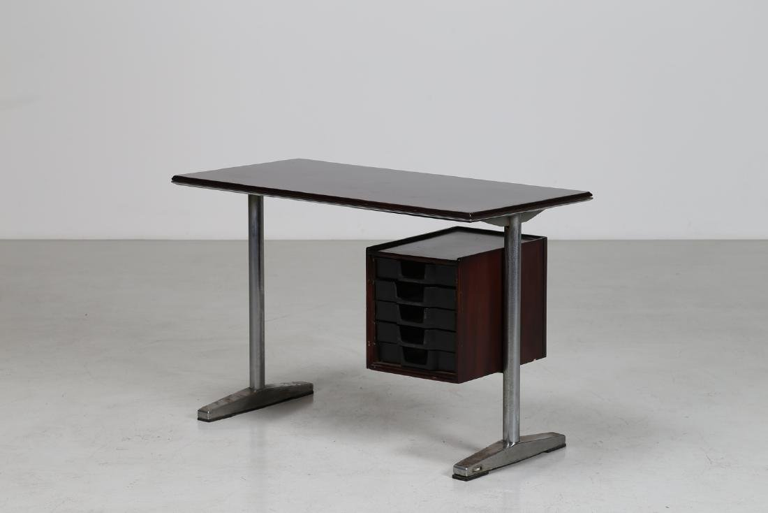 MANIFATTURA ITALIANA  Wood and aluminium desk, 1960s.