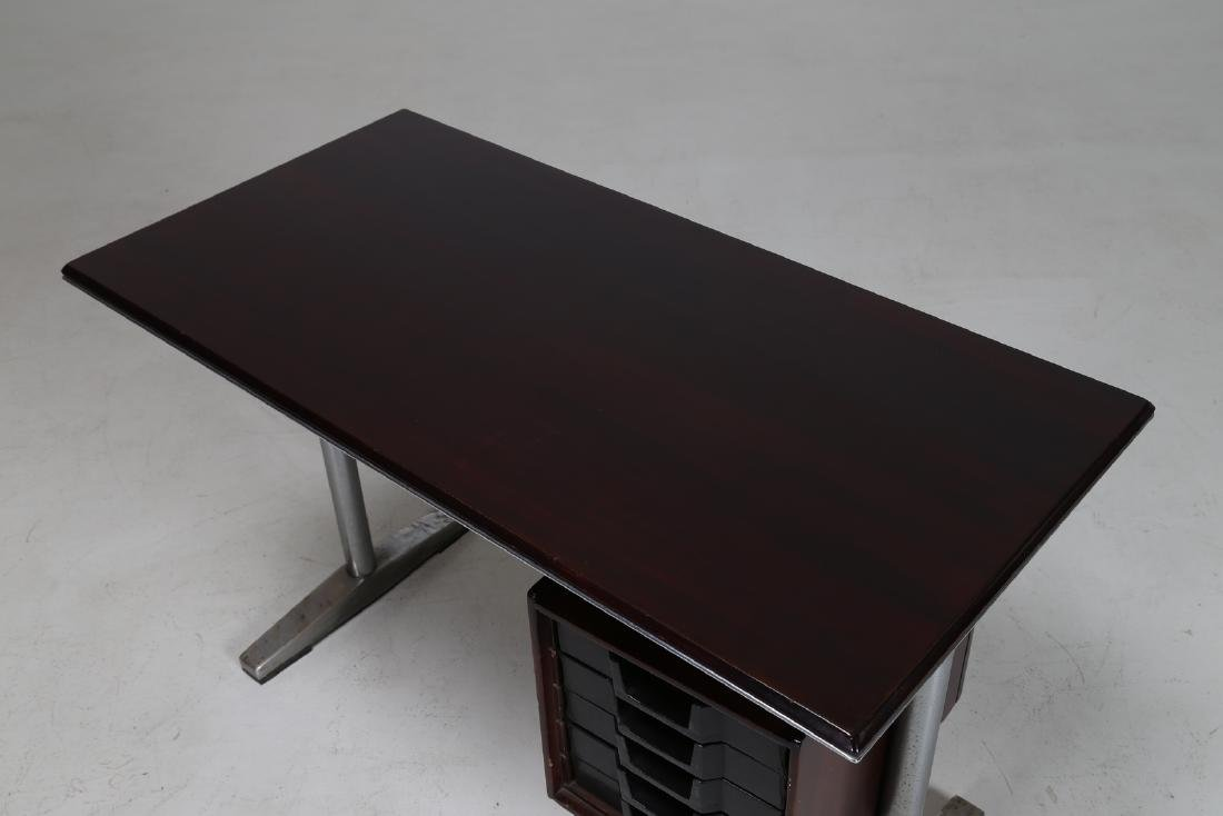 MANIFATTURA ITALIANA  Wood and aluminium desk, 1960s. - 5