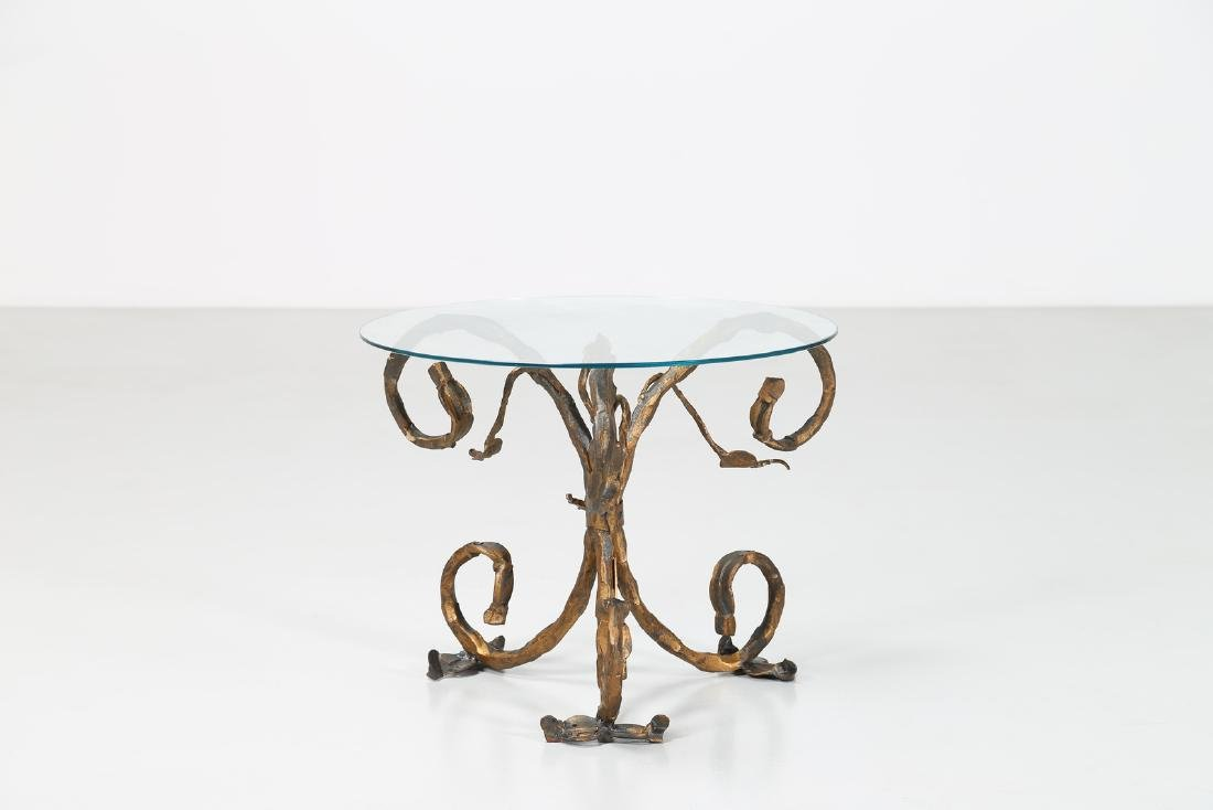 SALVINO MARSURA Small iron table with glass top, 1960s.