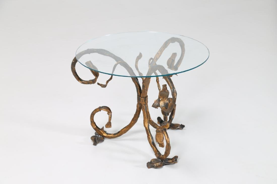 SALVINO MARSURA Small iron table with glass top, 1960s. - 2