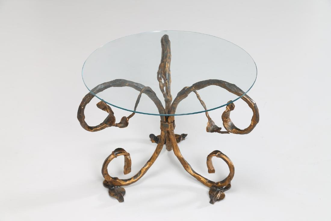 SALVINO MARSURA Small iron table with glass top, 1960s. - 3