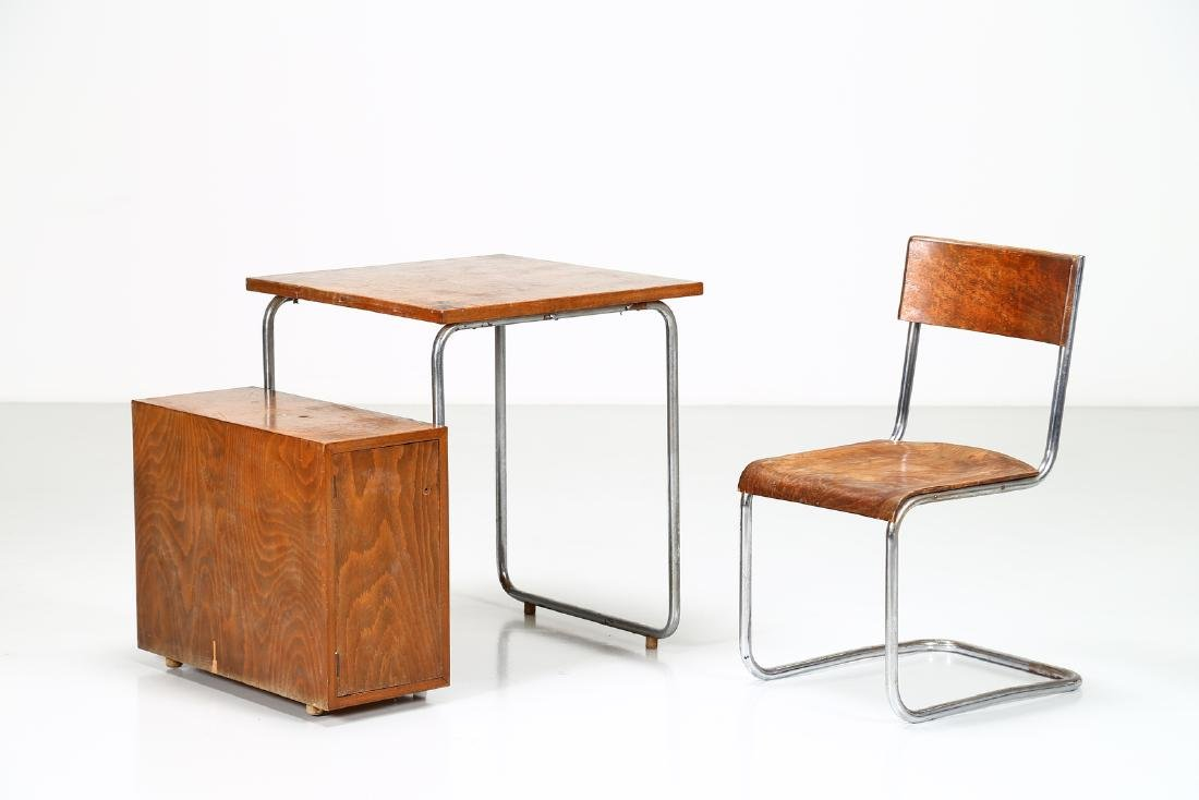 MILANO COVA Wood and chromed metal desk and chair,