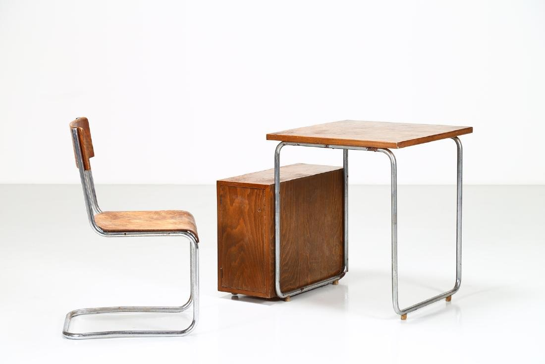 MILANO COVA Wood and chromed metal desk and chair, - 2
