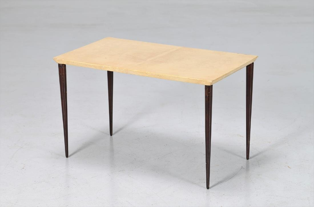 ALDO TURA Coffee table in lacquered wood and parchment,