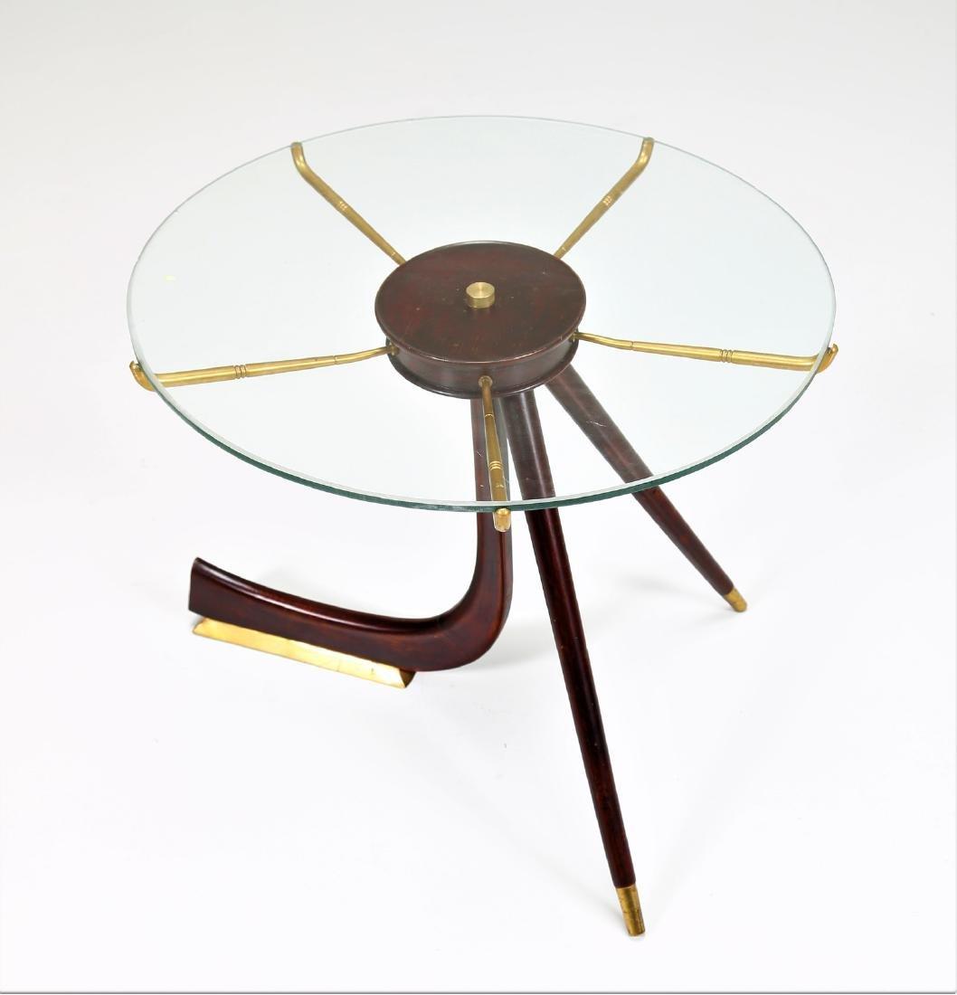 MANIFATTURA ITALIANA  Wood and brass coffee table with - 2