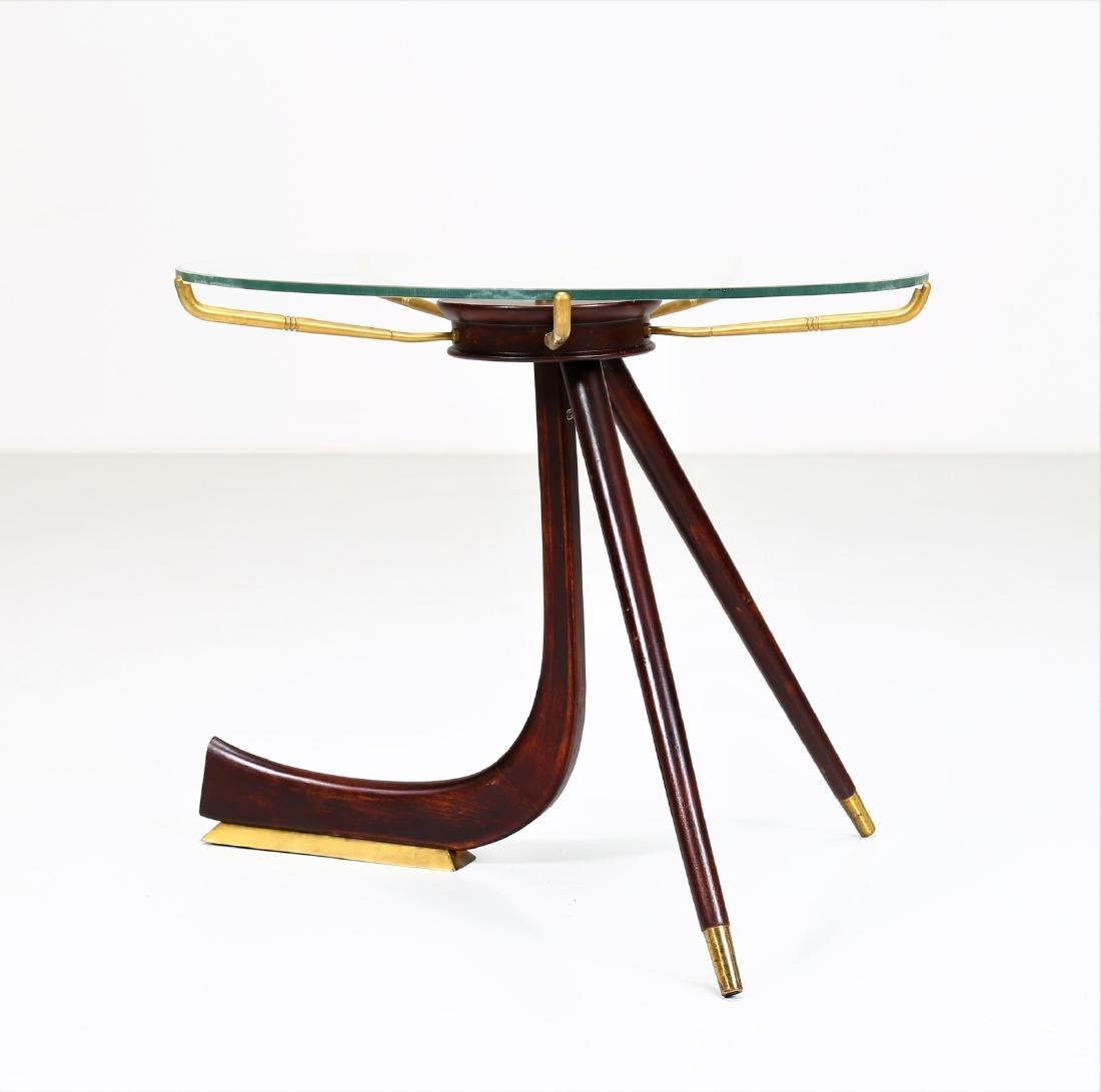 MANIFATTURA ITALIANA  Wood and brass coffee table with - 3