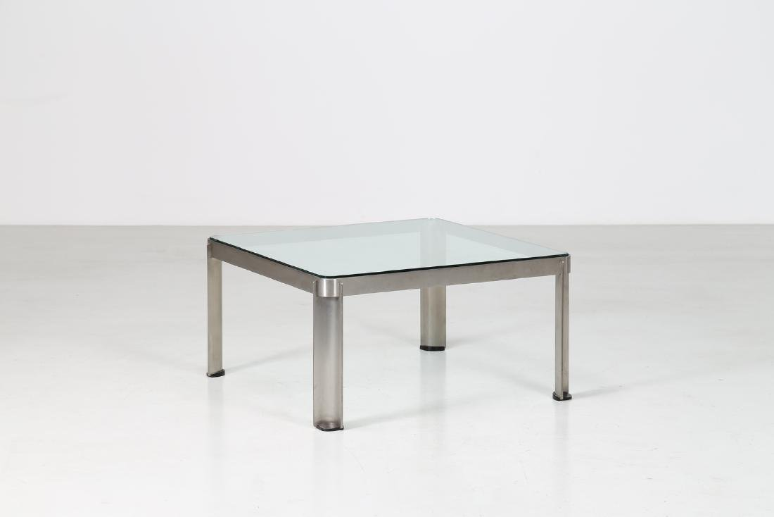 TECNO  Steel and glass coffee table, model T 113,