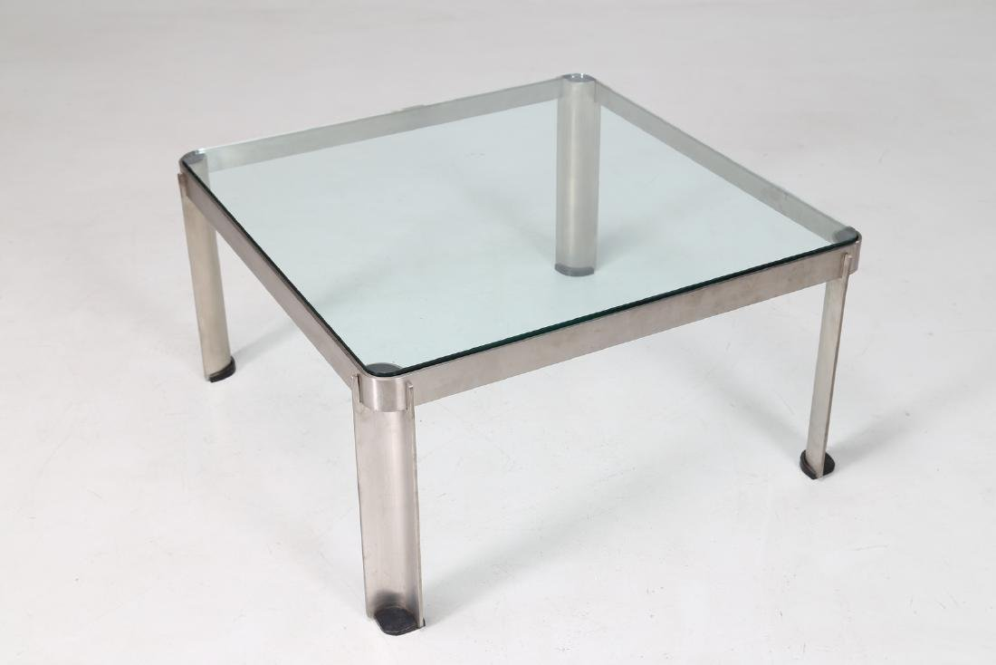 TECNO  Steel and glass coffee table, model T 113, - 5
