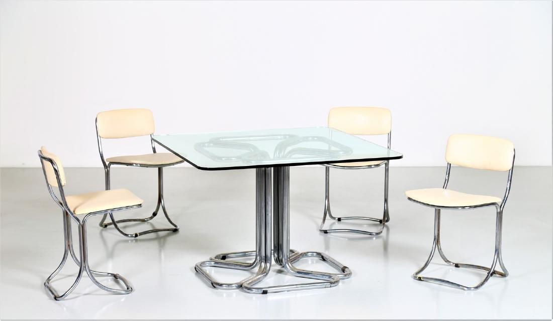 MANIFATTURA ITALIANA  Chromed metal table with glass