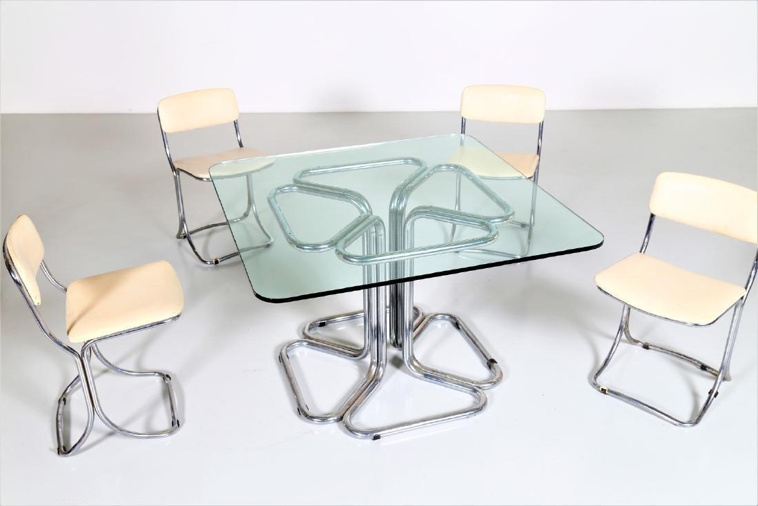 MANIFATTURA ITALIANA  Chromed metal table with glass - 2