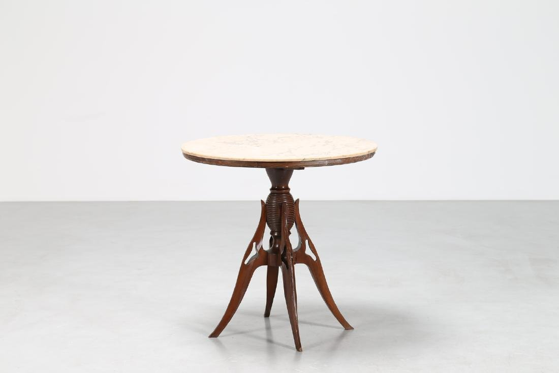 PIER LUIGI COLLI Distinctive wood pedestal table with