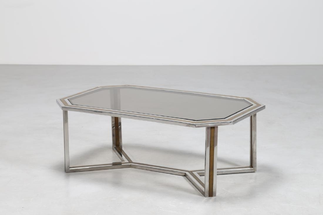 ROMEO REGA Chromed metal and brass coffee table in with