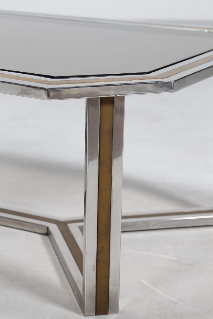 ROMEO REGA Chromed metal and brass coffee table in with - 2