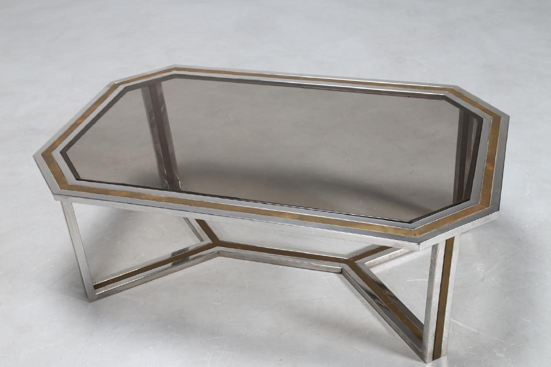 ROMEO REGA Chromed metal and brass coffee table in with - 3