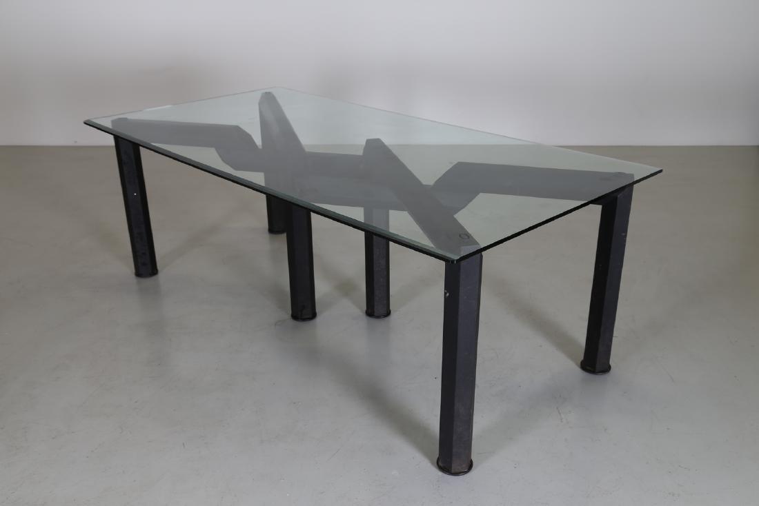 MANIFATTURA ITALIANA  Sandblasted metal table with - 3