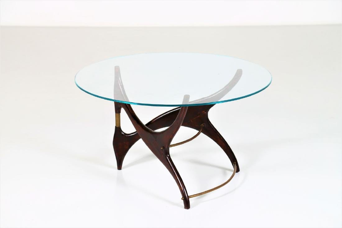 MANIFATTURA ITALIANA  Wood and brass coffee table with
