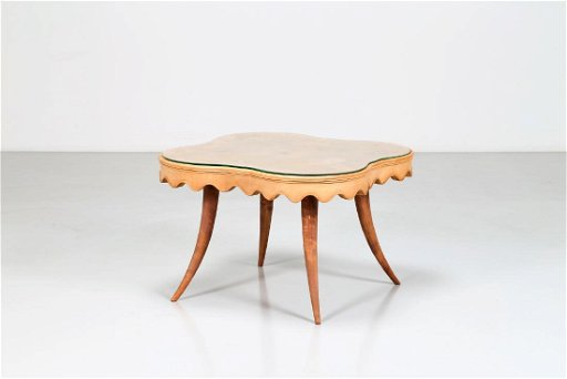 Maple Wood Coffee Table.Paolo Buffa Maple Wood Coffee Table With Glass Top